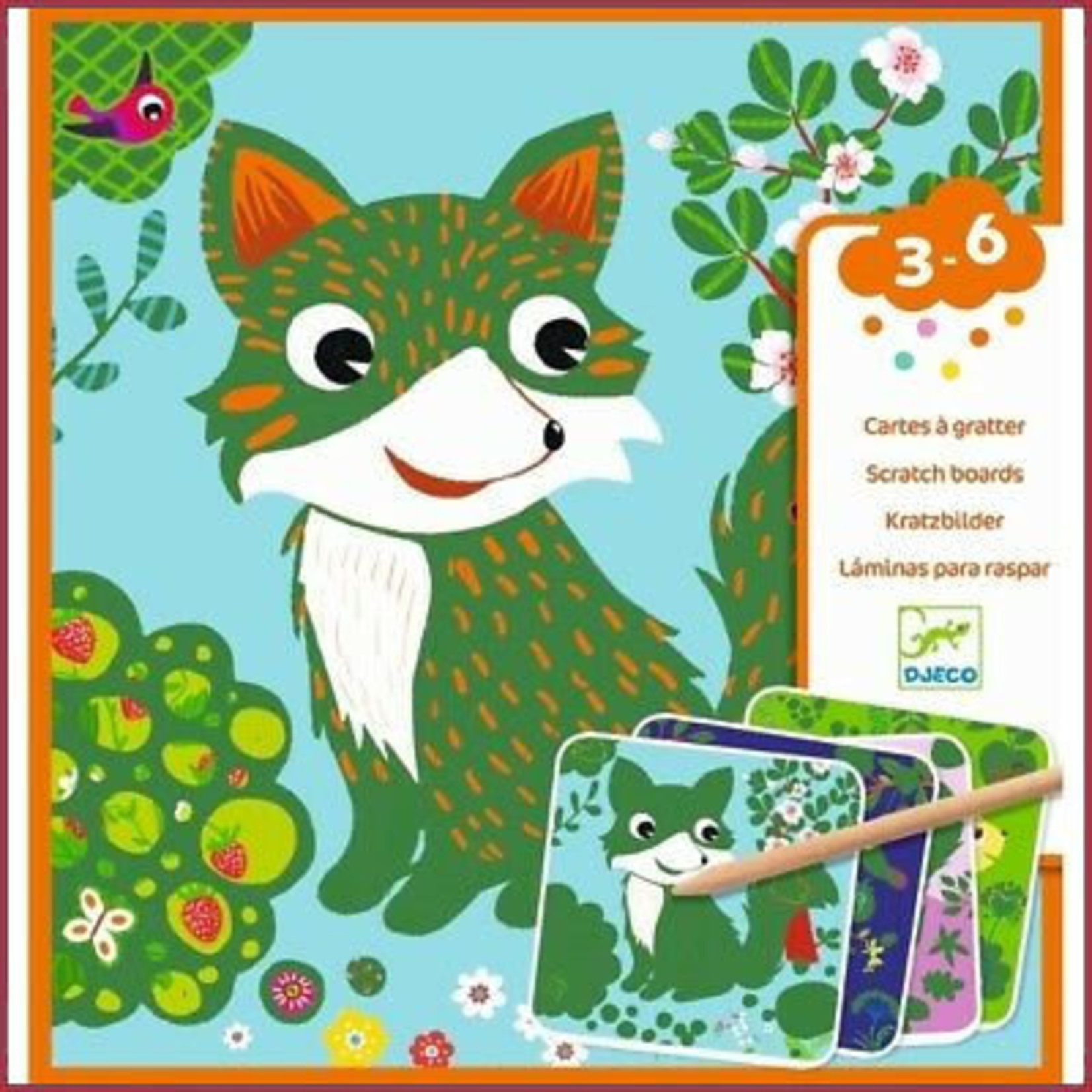 Djeco Scratchcard voor de kleinsten - bosdiertjes