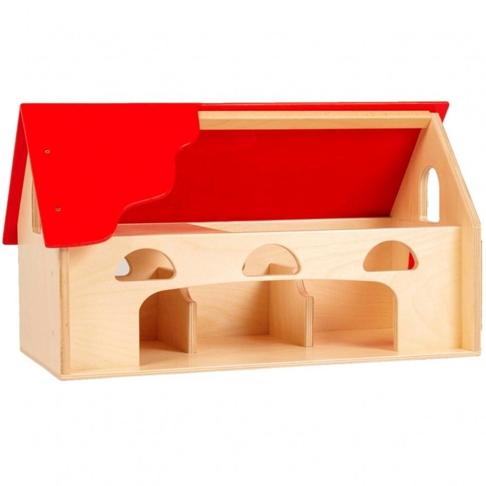 Van Dijk Toys Houten Boerderij met rood dak en ruime speel opening