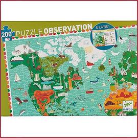 Djeco Observatiepuzzel Reis rond de Wereld 200 stukjes