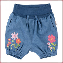 Sigikid Short lichtblauw met geborduurde bloem