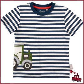 Sigikid T-shirt kleuter blauw-wit met tractor 104-110