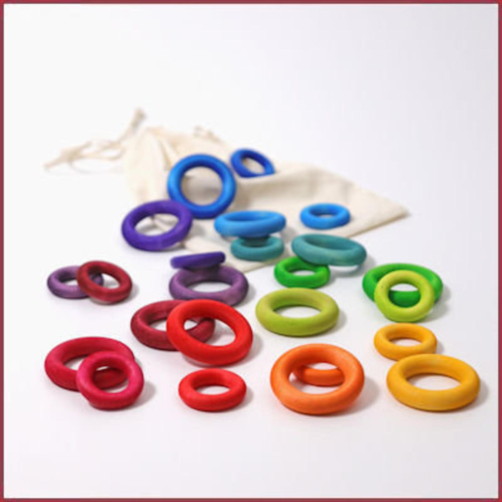 Grimm's 24 houten ringen om mee te bouwen - Regenboog