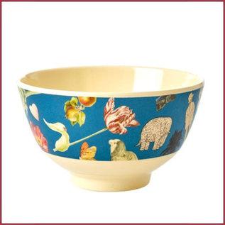 Rice Rice  Melamine Bowl met Blue Art Print Joëlle Wehkamp- Small -