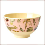Rice Rice Melamine Bowl with Pink Art Print - Joëlle Wehkamp - Small