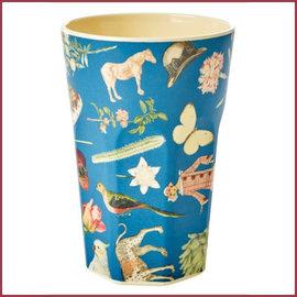 Rice Rice Melamine Cup met Blue Art Print - Tall - Joëlle Wehkamp