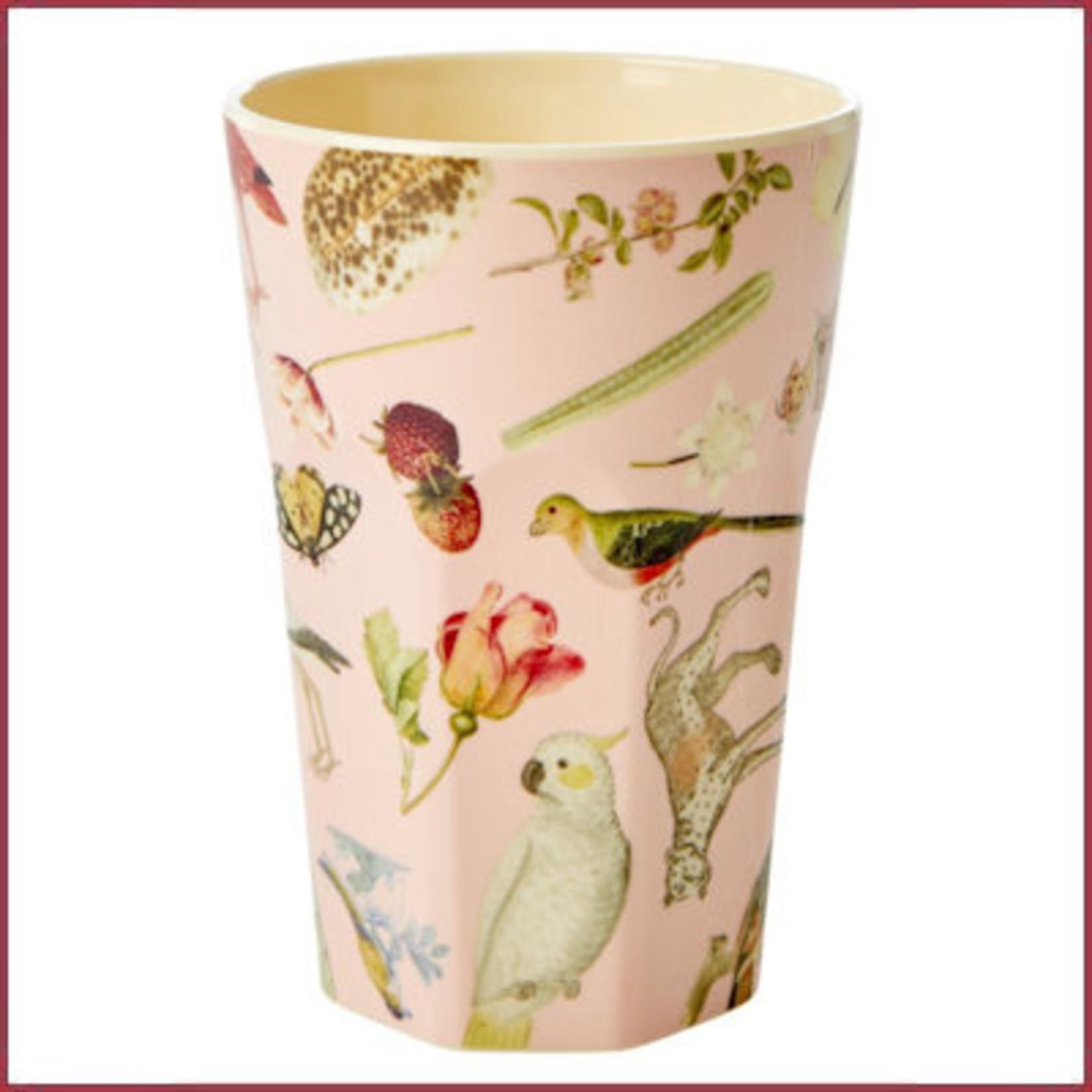 Rice Rice Melamine Cup met Pink Art Print - Tall - Joëlle Wehkamp