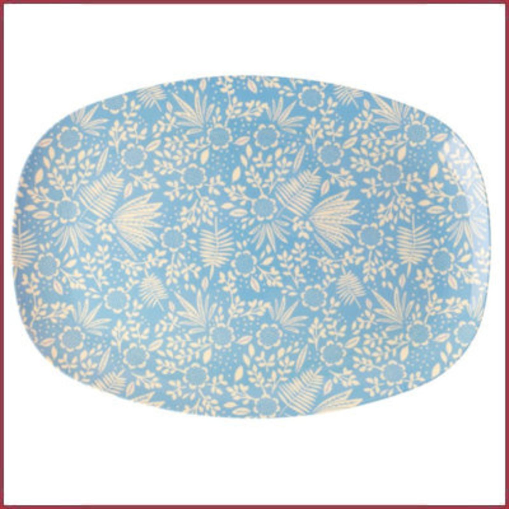 Rice Rice Melamine Rectangular Plate met Blue Fern & Flower Print