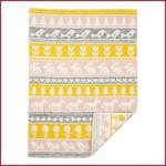 Klippan Wiegdeken wol Nature geel/roze 65x90