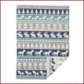 Klippan Wiegdeken wol Nature grijs/blauw 65x90