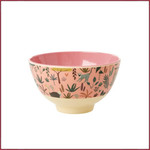 Rice Rice Melamine kom met Jungle print - two tone - small coral