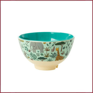 Rice Rice melamine kom met jungle print - two tone - small  groen