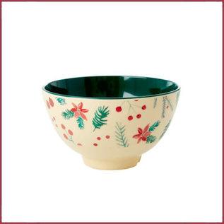 Rice Rice melamine kom met Poinsettia print - two tone - small