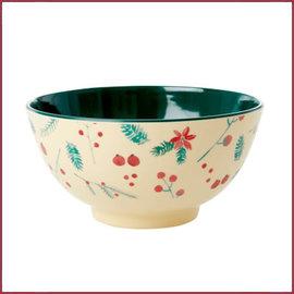 Rice Rice melamine kom met Poinsettia print - two tone - medium