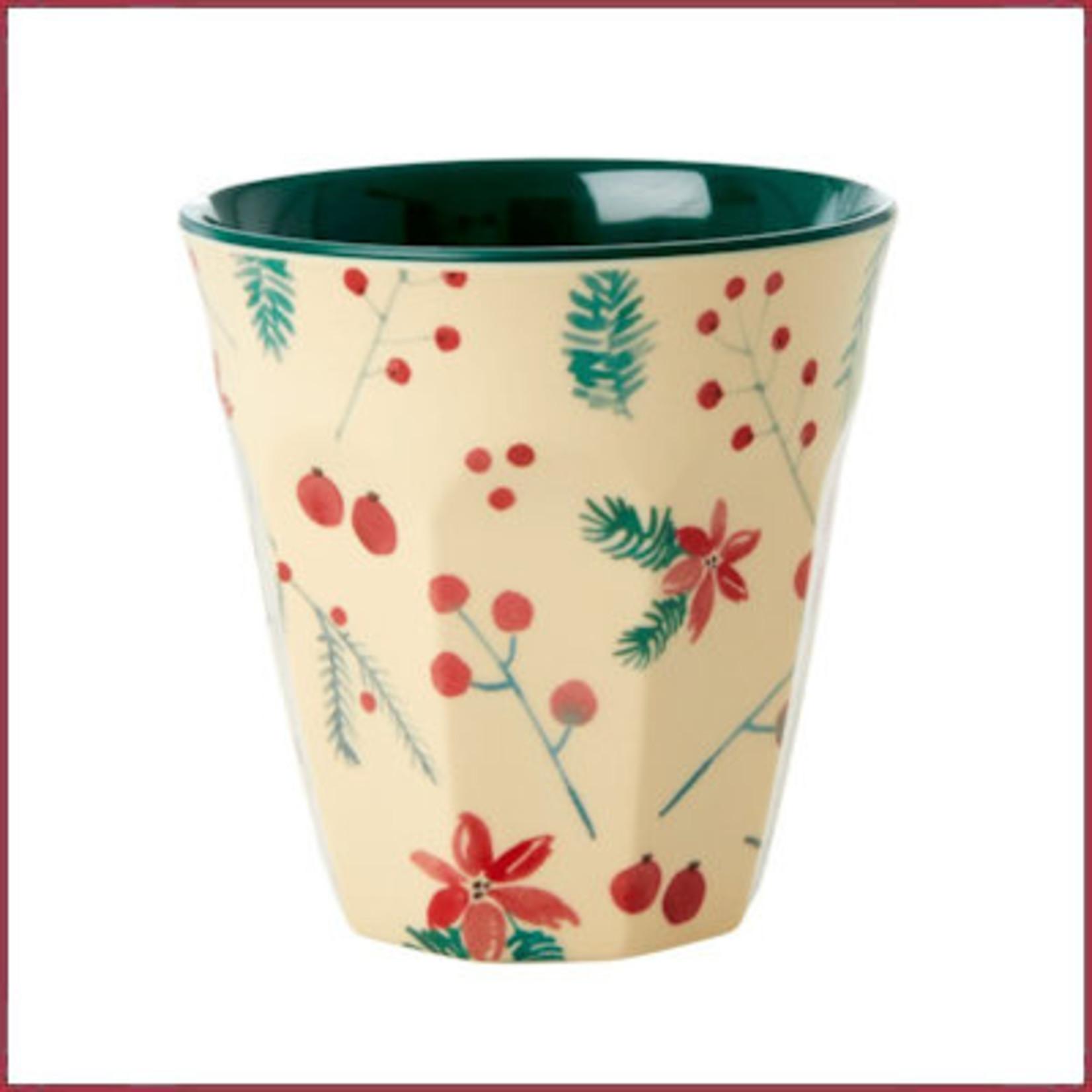 Rice Rice melamine beker met Poinsettia Kerstmis print - two tone - medium