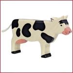 Holztiger Koe staand, zwart-wit 16 cm