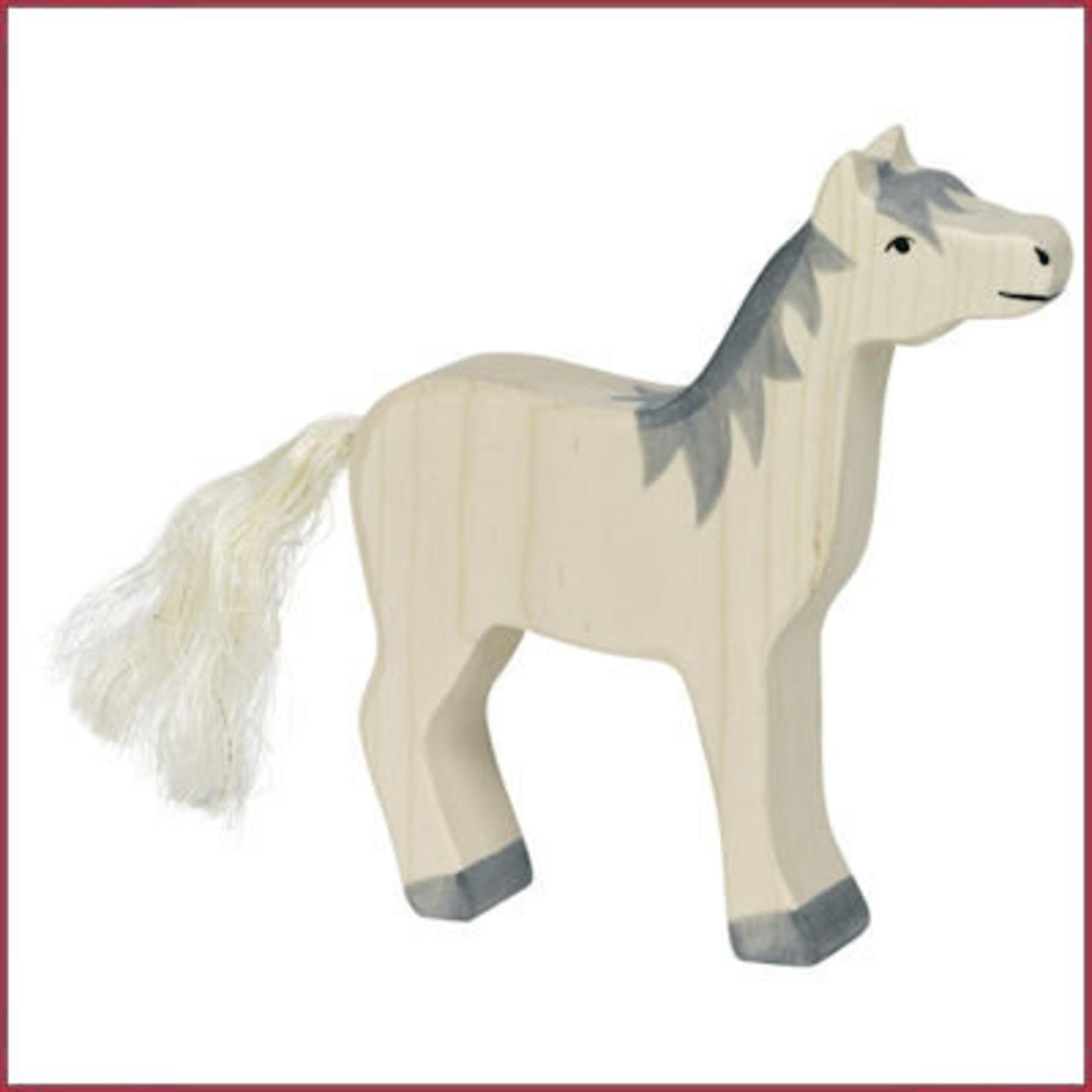Holztiger Holztiger Paard, kop omhoog, grijze manen