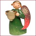 Wendt & Kühn Rijk beschilderde Engel met kaarsenhouder, knielend - groen