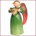 Wendt & Kühn Rijk beschilderde Engel met kaarsenhouder - groen