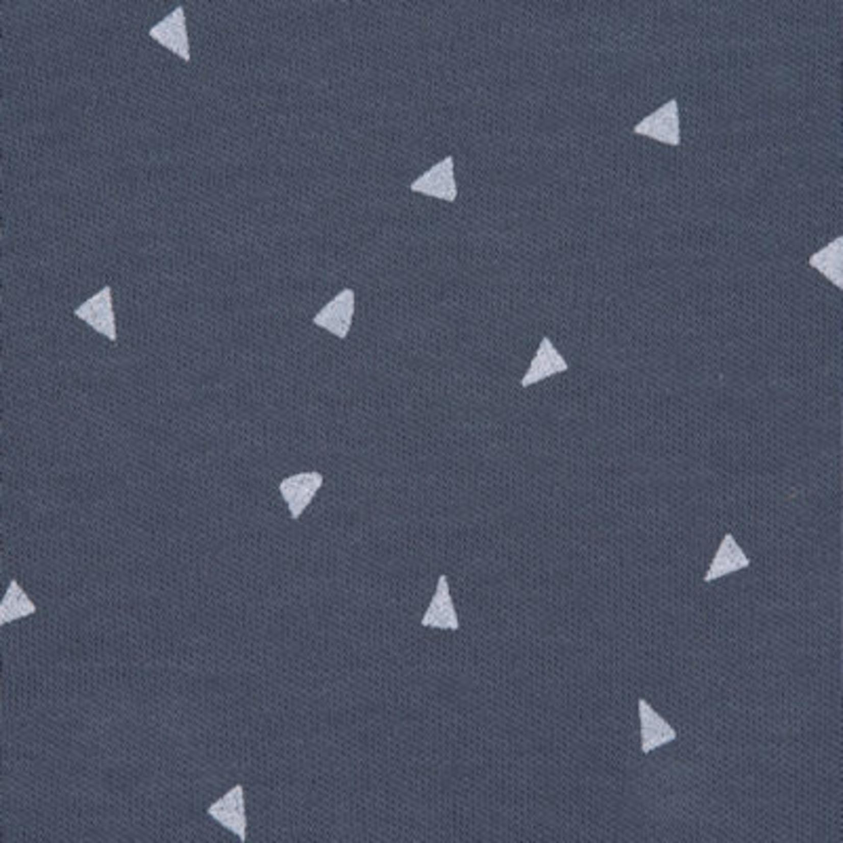 Lässig Romper lange mouw blauw triangel, GOTS