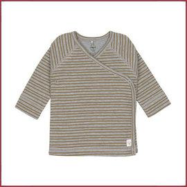 Lässig Overslag shirtje grijs streepje, GOTS