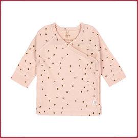 Lässig Overslagshirtje zacht roze stip, GOTS