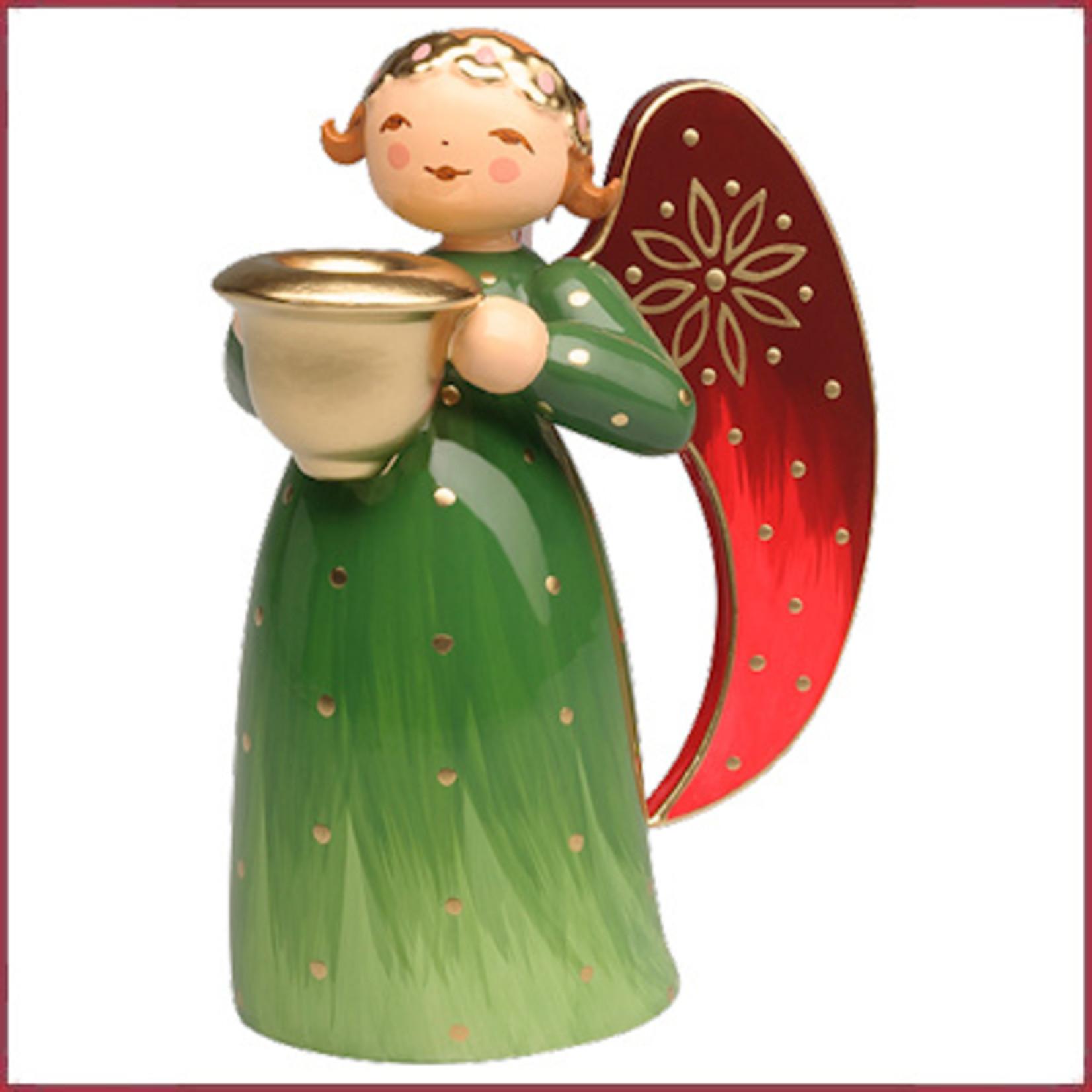Wendt & Kühn Rijk beschilderde Engel met kaarsenhouder - Groen klein