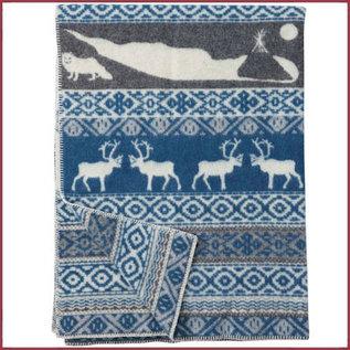 Klippan Eco-wollen deken Sarek multi Grijs/blauw 130x180