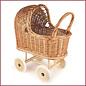 Egmont Toys Rieten poppenwagen met rubber wielen en bekleding
