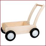 Van Dijk Toys Stoere Houten Loopwagen/duwkar blank retro
