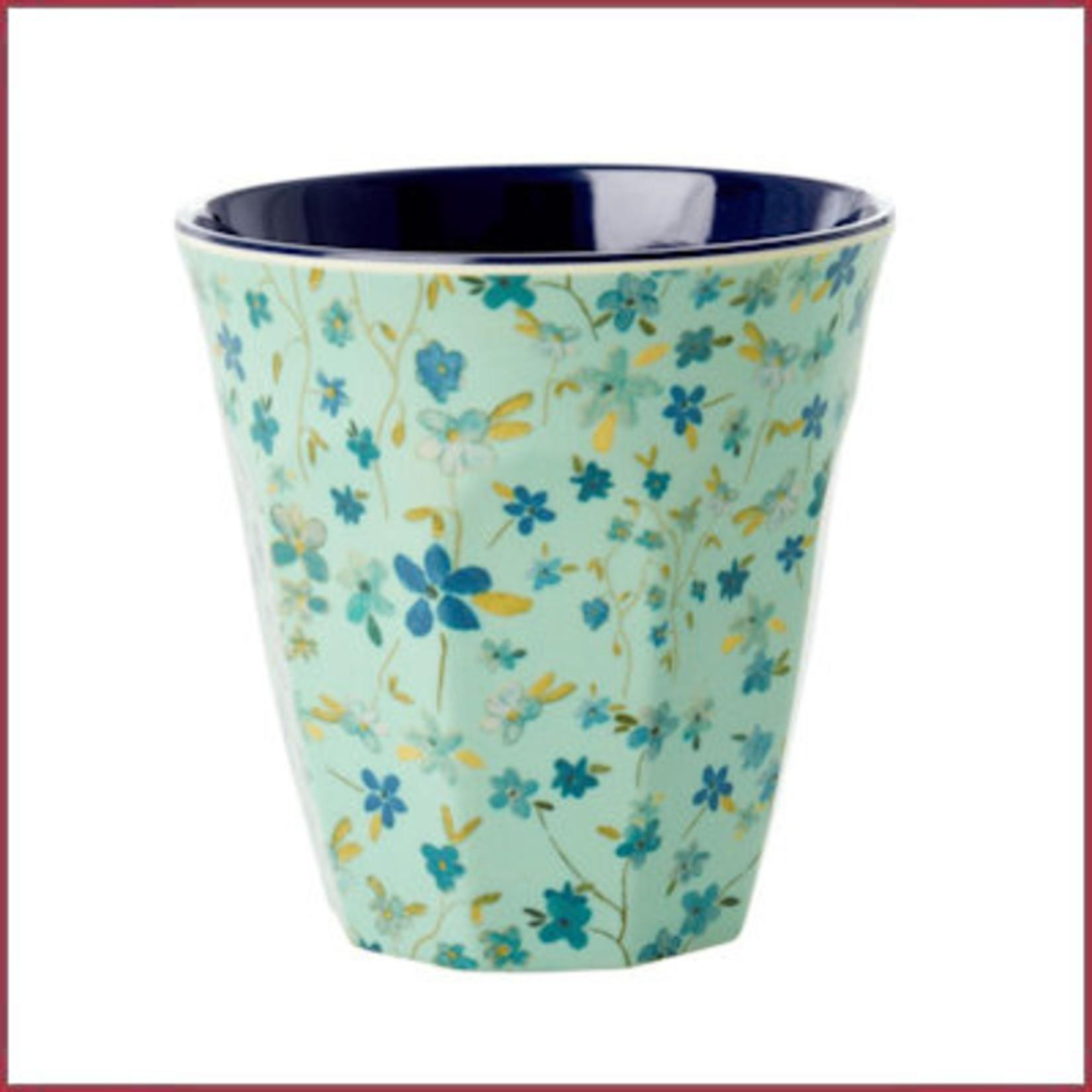Rice Rice Melamine beker medium Floral print - two tone blauw