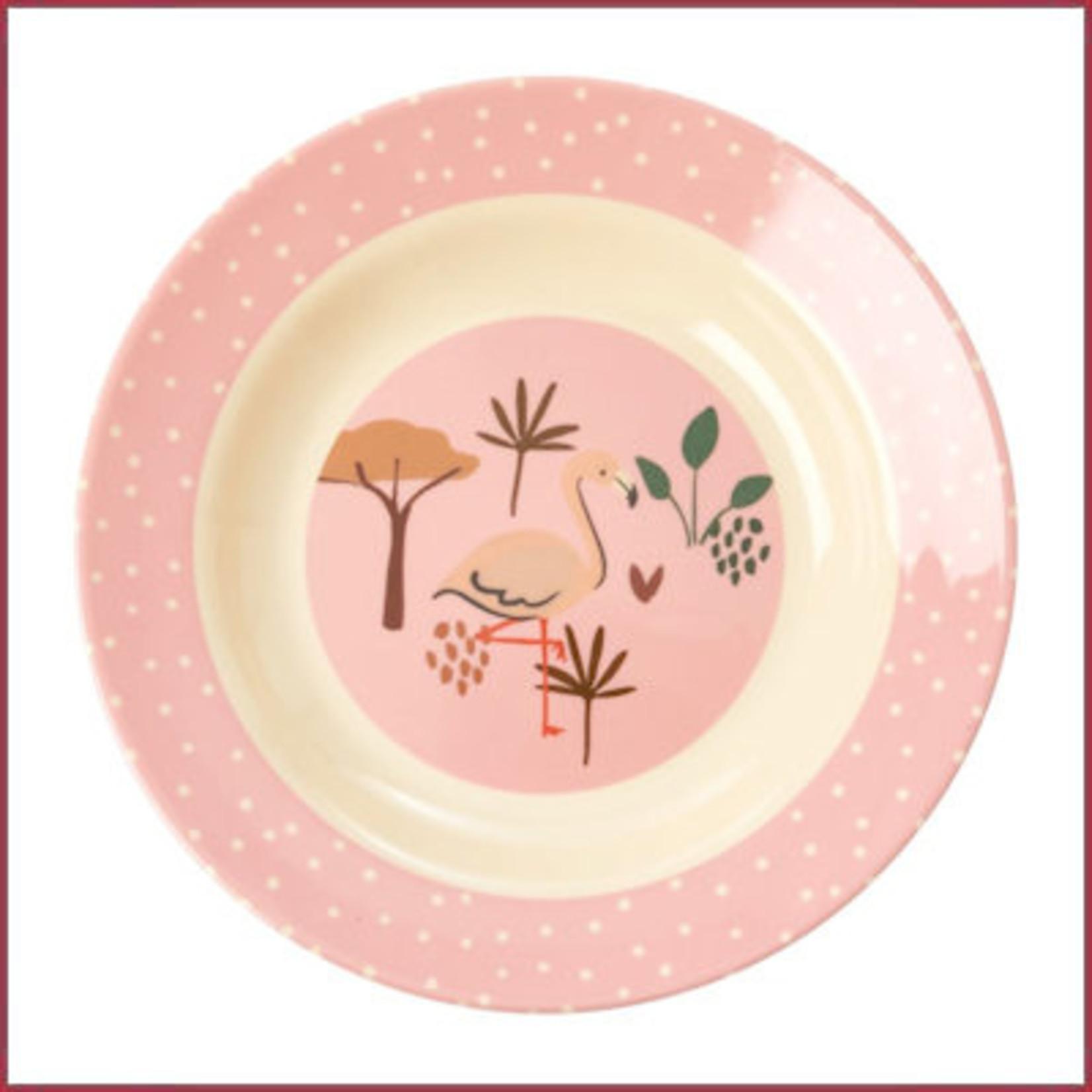 Rice Rice melamine diep kinderbordje met jungle dierenprint - roze