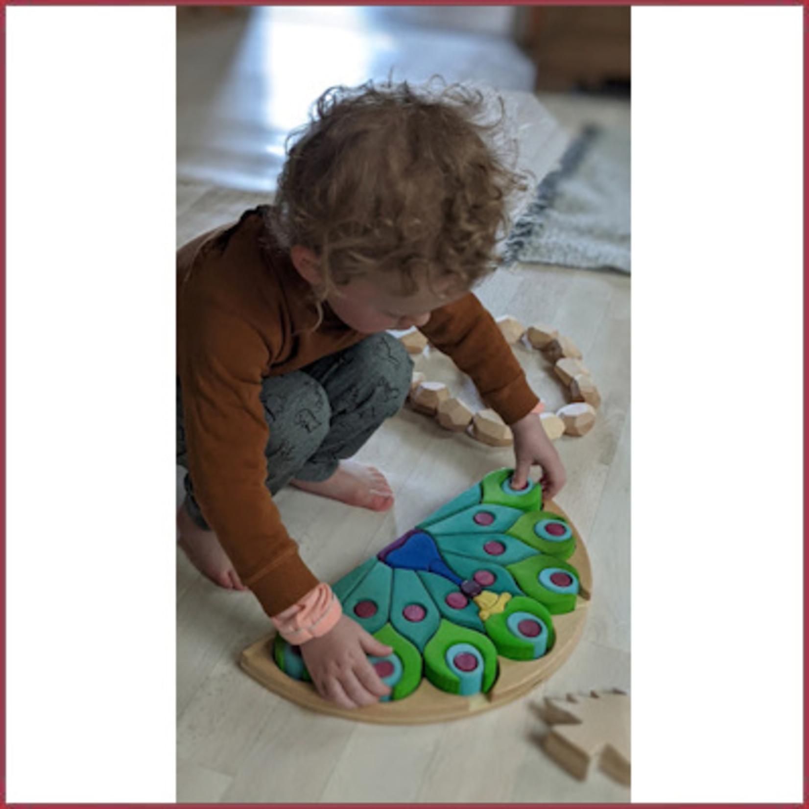 Bumbu Toys Houten puzzel Pauw