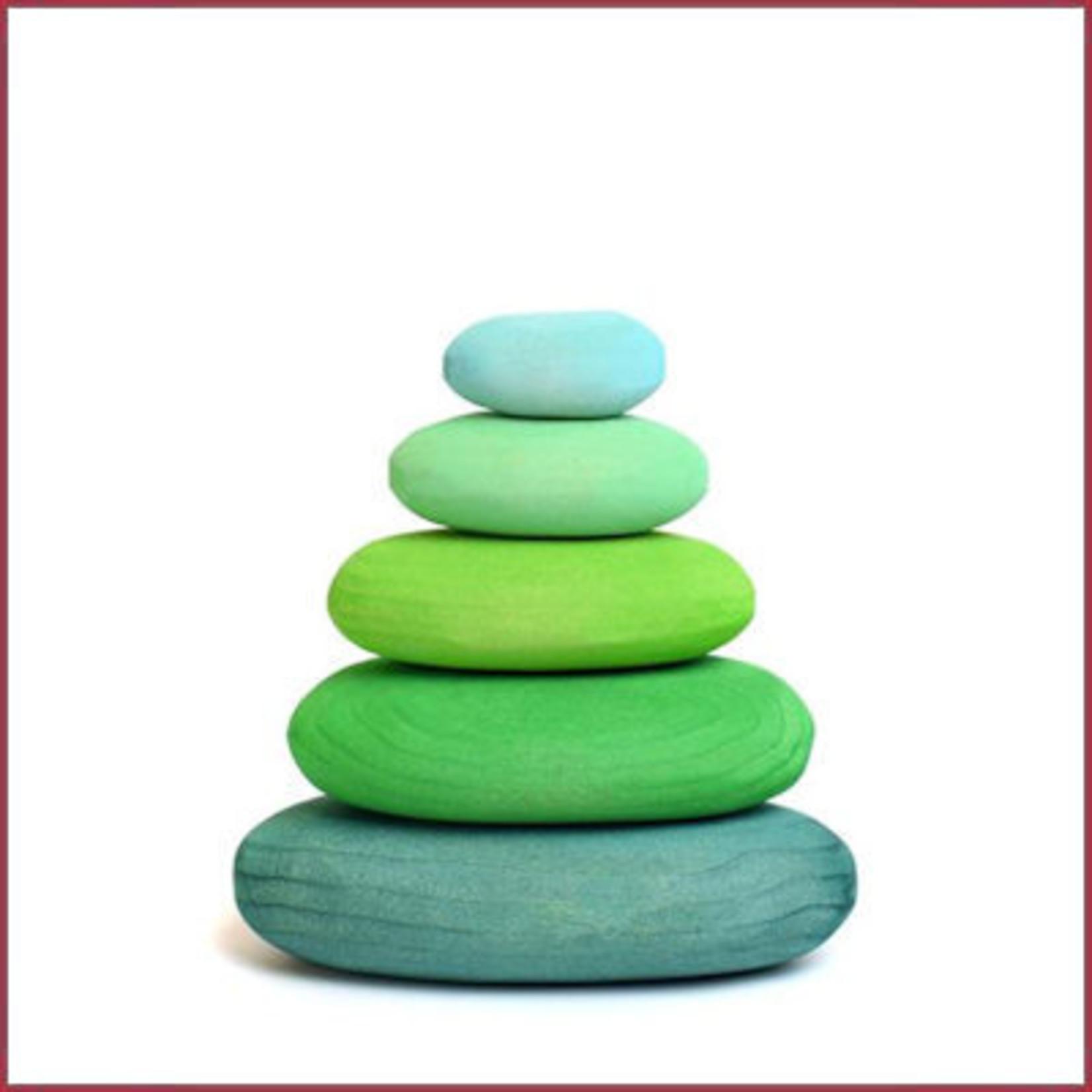 Bumbu Toys Houten rivierstenen, pebbles groen