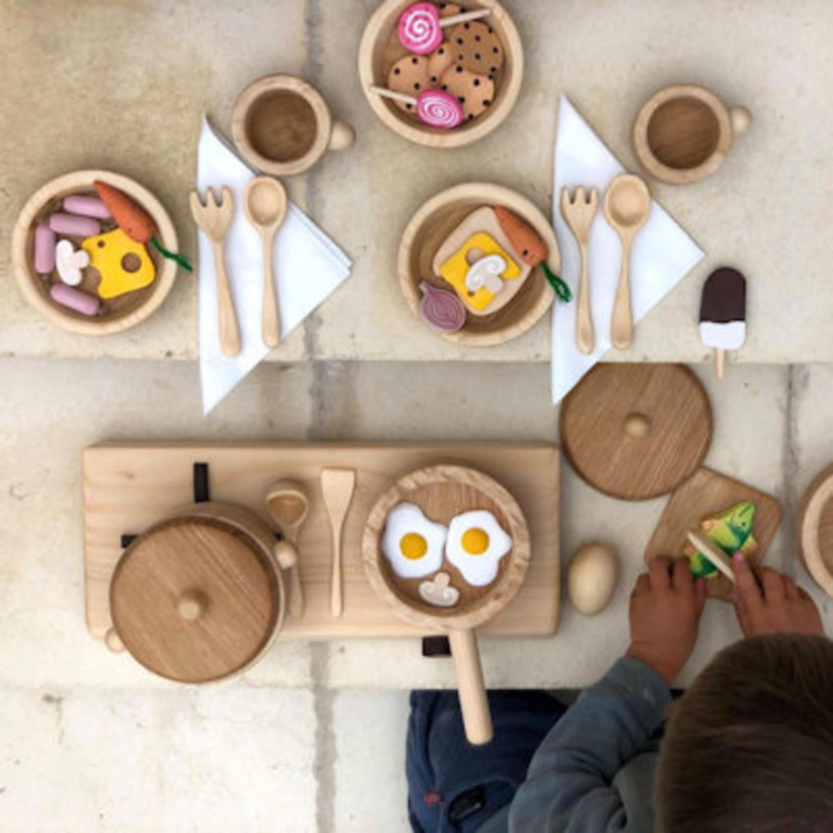 Bumbu Toys Houten ambachtelijk gemaakt eetsetje 8dlg