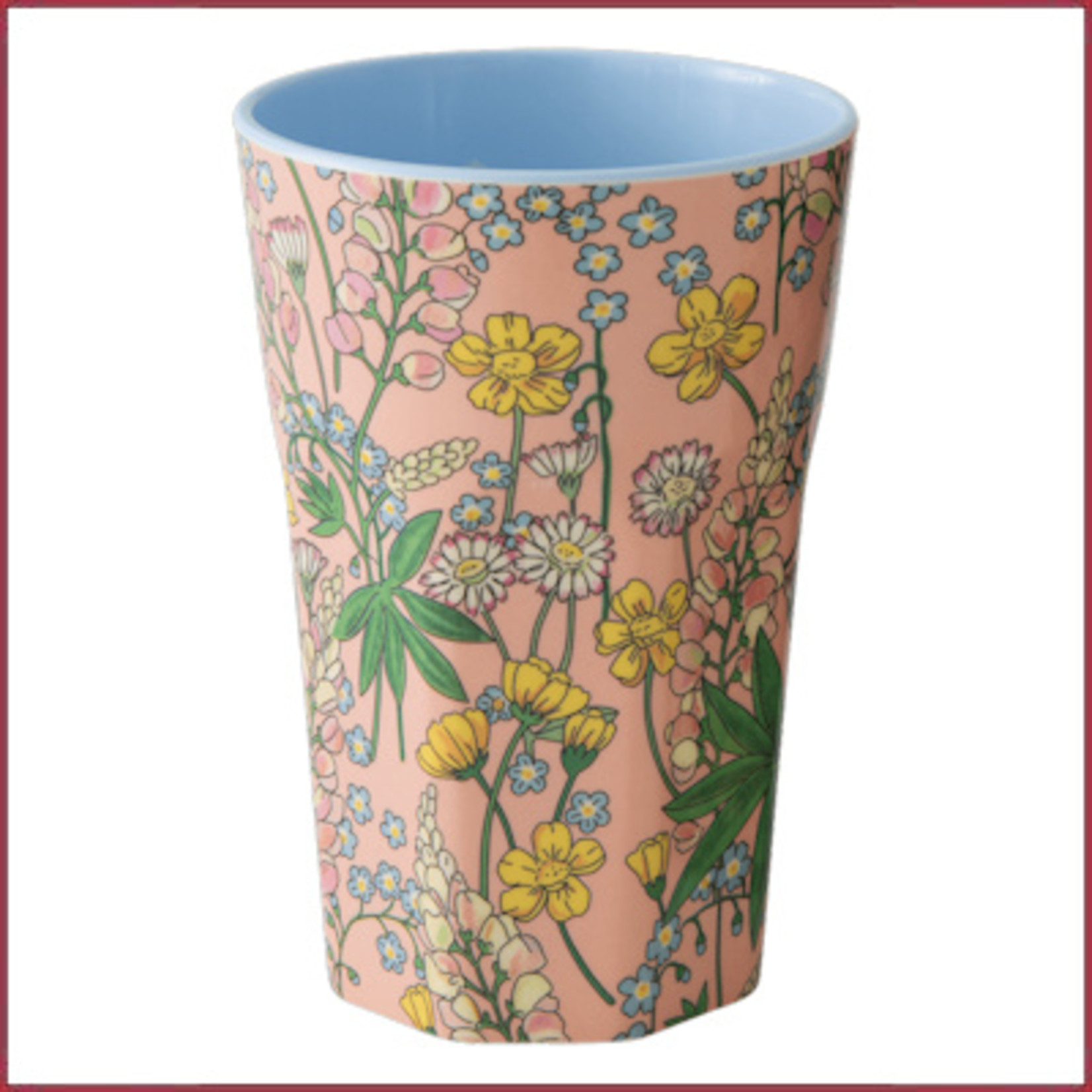 Rice Rice Melamine beker Two Tone Tall - Lupine Print Coral