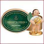 Wendt & Kühn Grünhainichense engel met vergulde schelp en sokkel