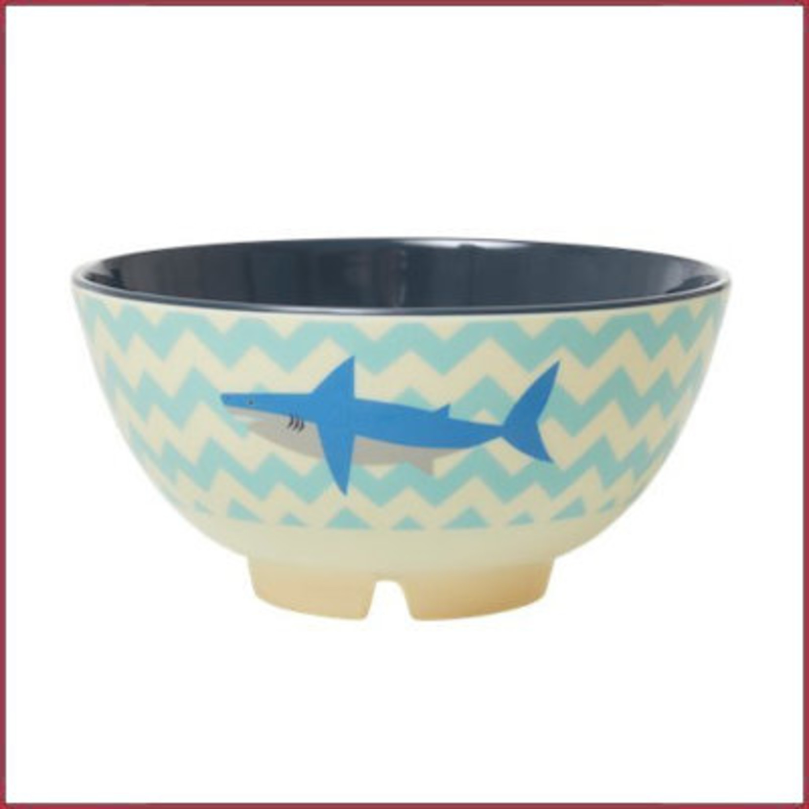 Rice Rice Melamine medium bowl met Haai print