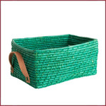 Rice Rechthoekige Raffia mand met leren handvat Groen