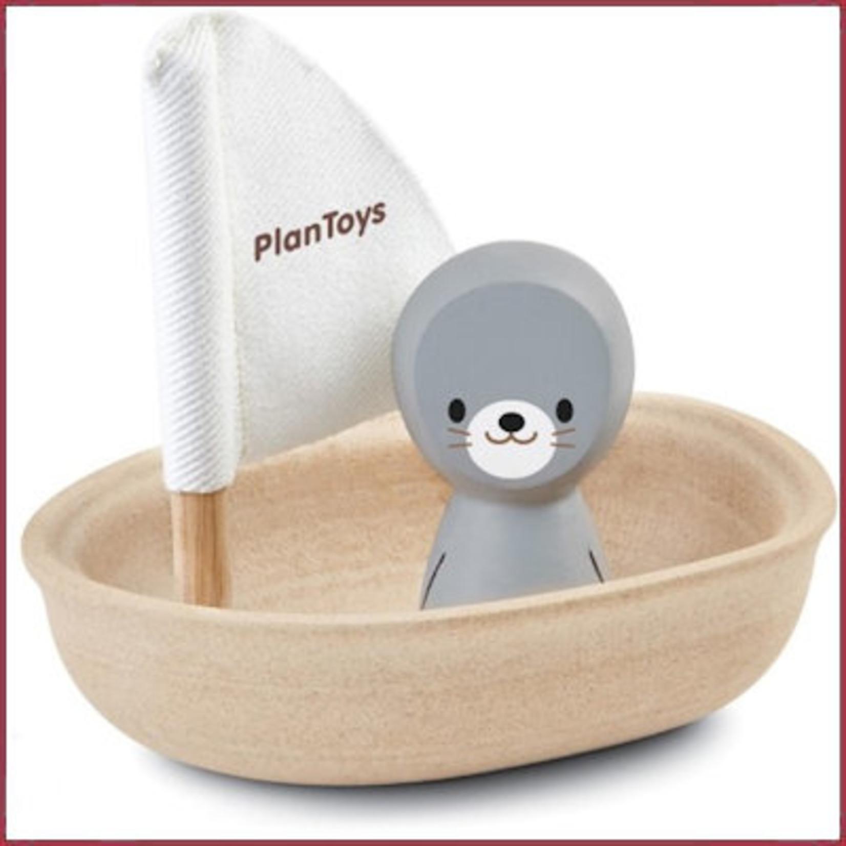 Plantoys Houten badspeeltje Zeilboot zeehond