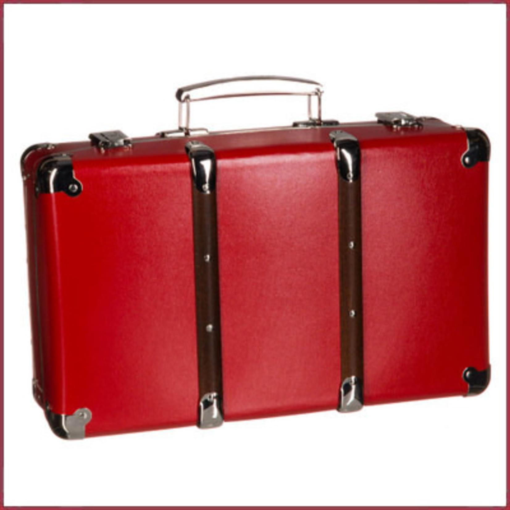 Attaché koffer rood, met bruine houten latten 40cm