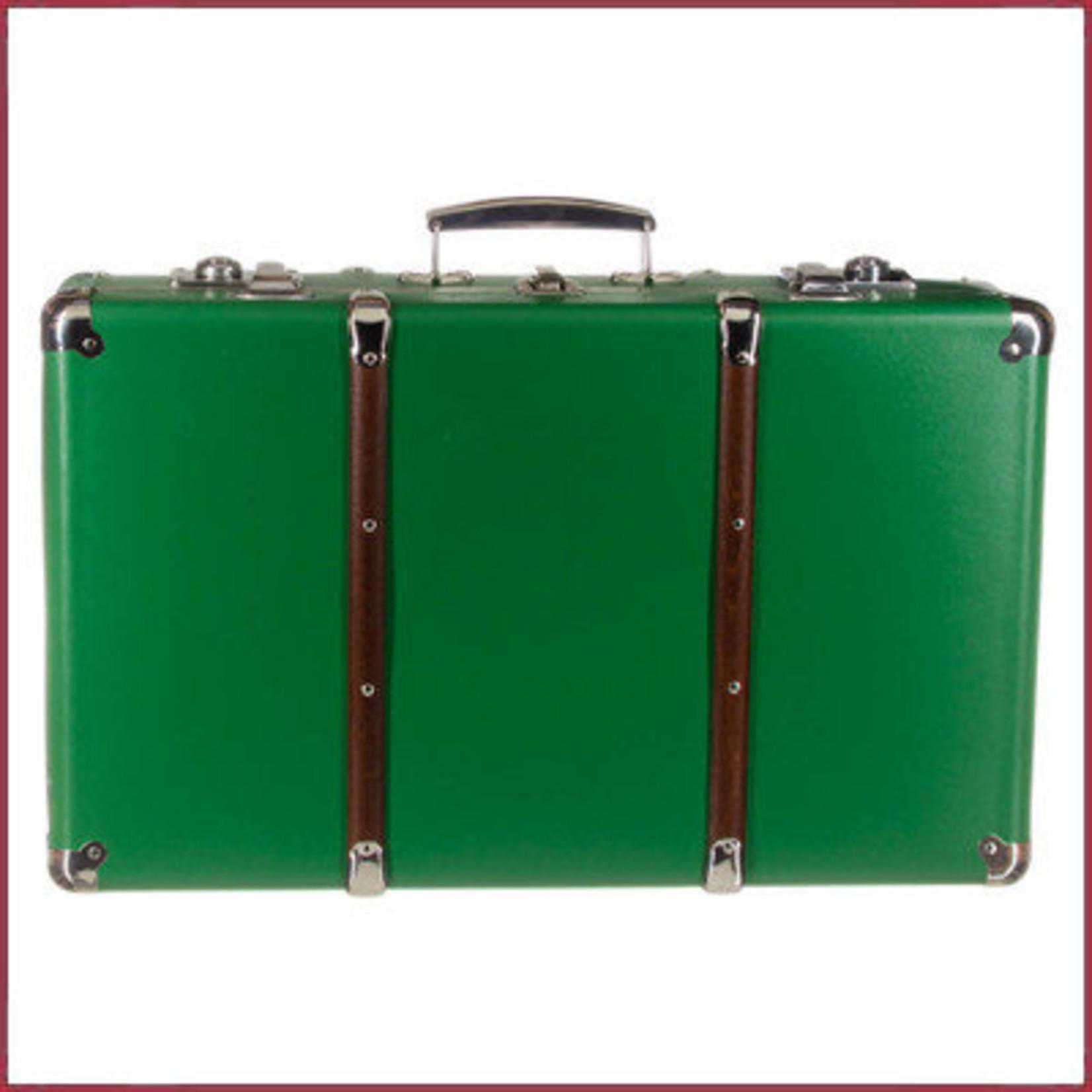 Reiskoffer Groen met bruine houten latten 55cm
