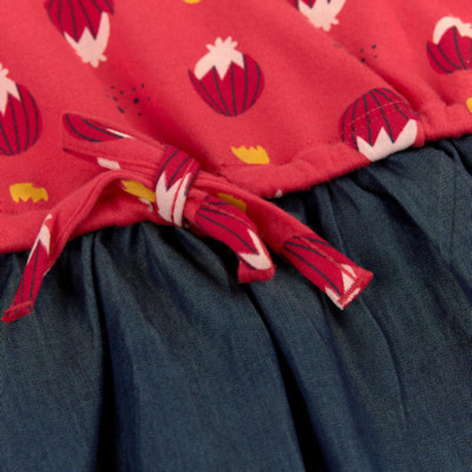 Sigikid Rood jurkje met jeans rokje, biokatoen