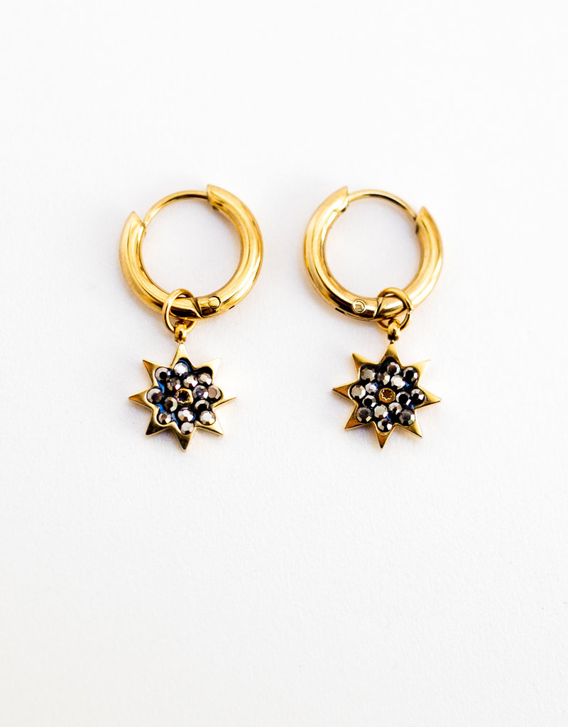 . GOLD PLATED CRYSTAL STAR EARRINGS