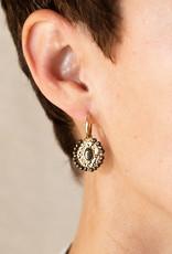 . OVAL BEADED DROP EARRINGS