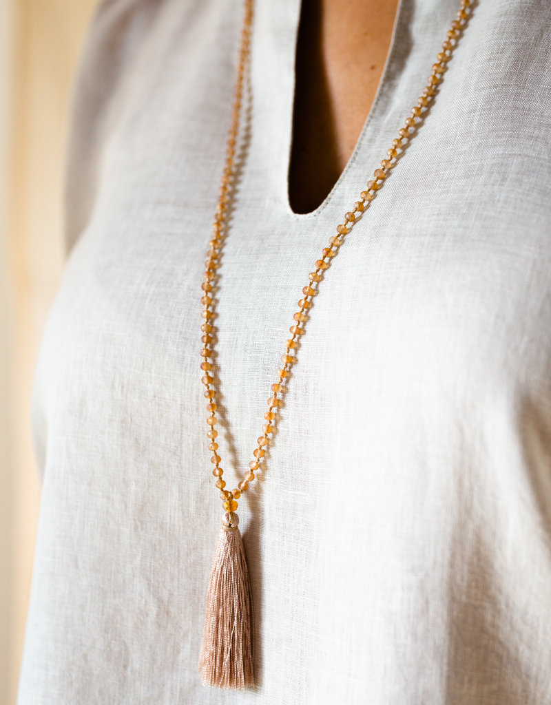 . LIMA BEAD & TASSEL NECKLACE