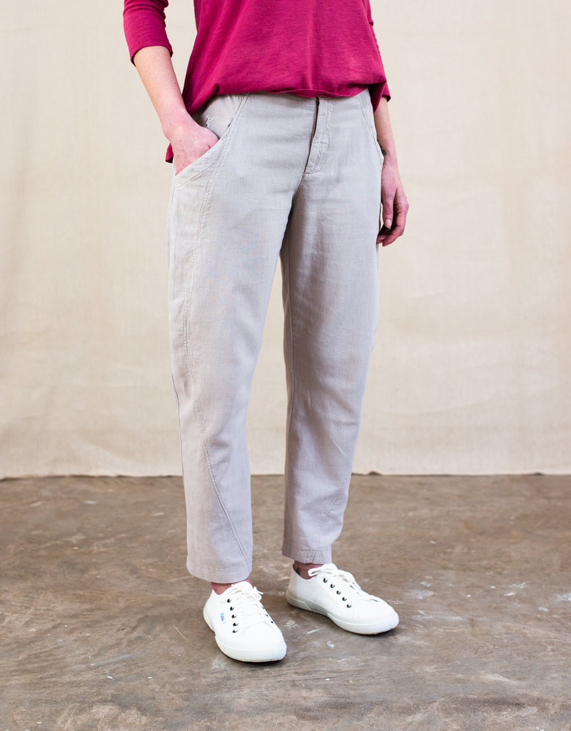 ELETTRA TAPERED LINEN TROUSERS