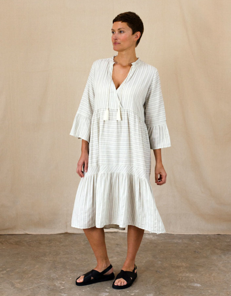 LUCE STRIPE TIERED DRESS