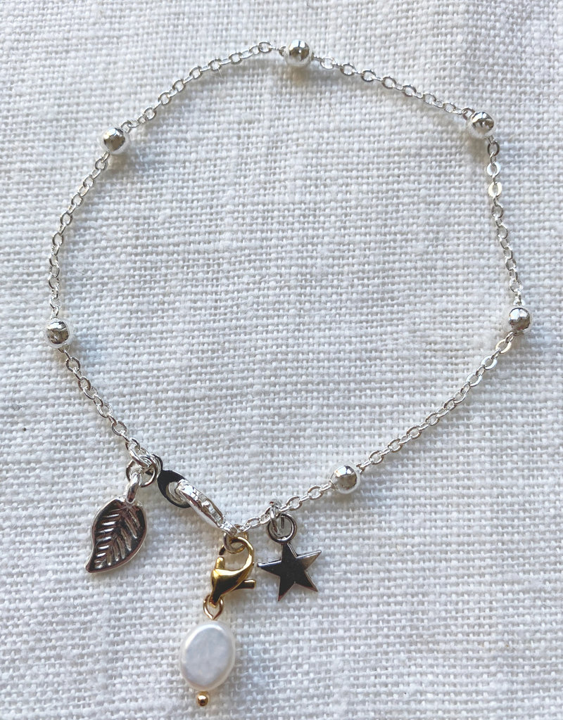 . IONE SILVER PLATED CHARM BRACELET
