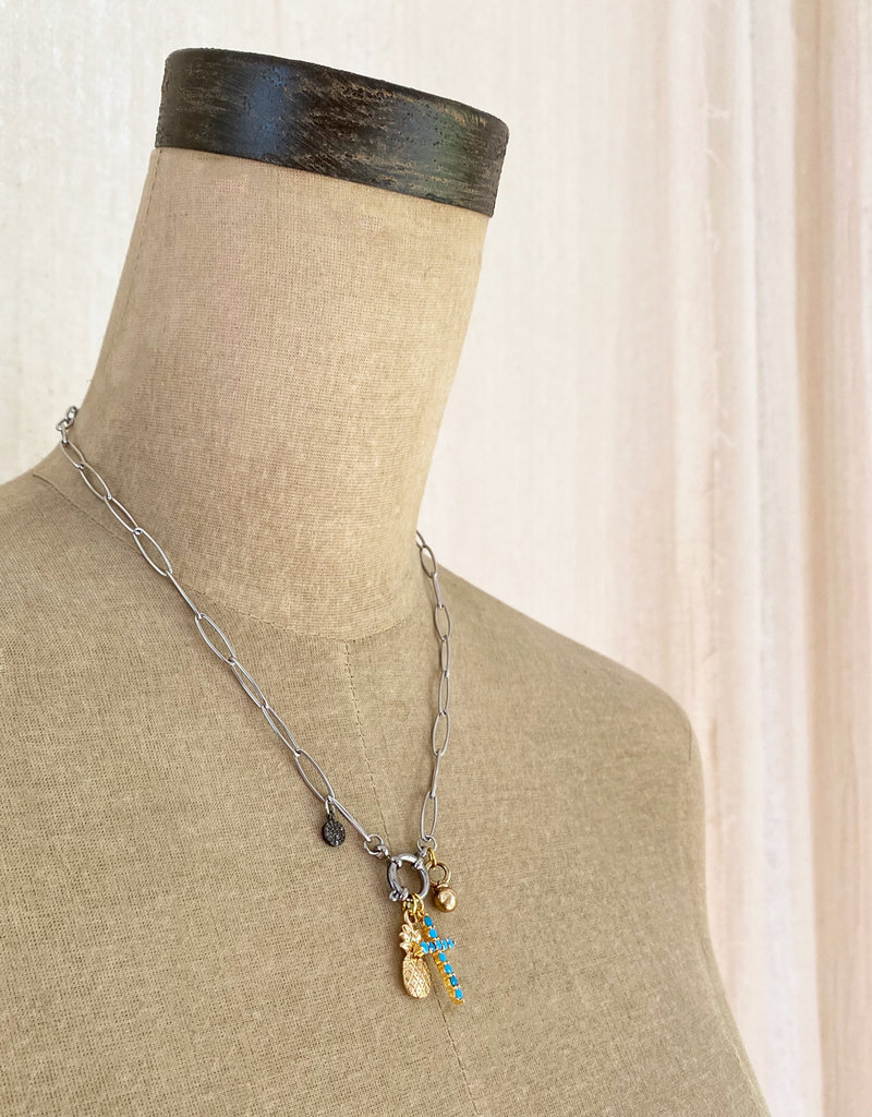. THALIA SILVER PLATED CHUNKY CHARM NECKLACE