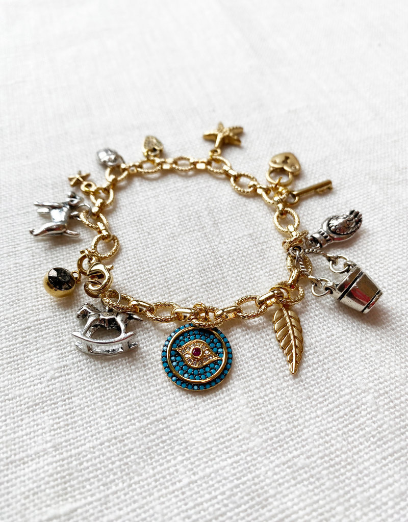 . CASSIA GOLD PLATED CHUNKY CHARM BRACELET